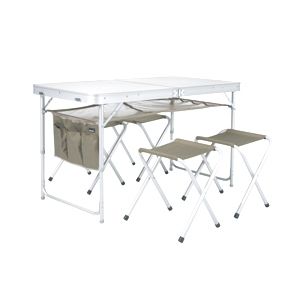 Plein air valise table 4 tabourets for Table camping valise